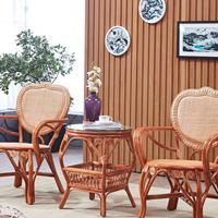 休闲藤椅藤编心形椅茶几三件套桌椅套件组合老人靠背椅阳台户外椅