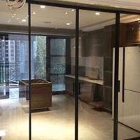 2018新款厨房阳台铝合金隔断黑色窄边框吊趟门
