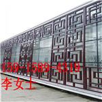 外墙咖啡色氟碳铝窗花格-室内木纹色铝合金花窗