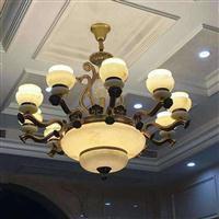 玉石吊灯 全铜玉石吊灯 天然玉石吊灯 客厅玉石吊灯