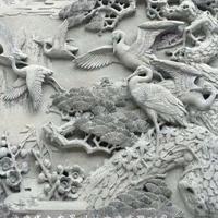 青石浮雕加工 鹿竹同春松鹤延年寺庙门面石材浮雕图案
