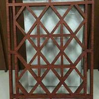 专业生产古典木纹铝窗花屏风厂家/彩色型材冰裂花式铝花格铝隔断