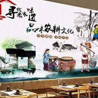 餐饮店咖啡店休闲会所墙面壁画个性定制,无缝墙布、软包面料
