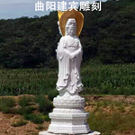 石雕观音雕像 滴水观音雕刻 寺庙佛像雕塑
