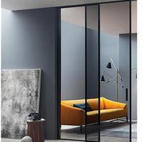 窄边框黑色细边门较简玻璃门平开门设计