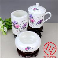 定制陶瓷办公三件套茶杯烟缸笔筒 办公会议礼品定制