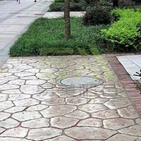 供应彩色压膜地坪 水泥混凝土边浇边做