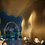 德普龙厂家长期供应弧形造型铝方通-中餐厅波浪异形铝方通