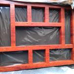 定制仿古古建铝合金花格窗-木纹色铝艺花格厂家