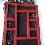 中式木纹色铝艺古建花格窗定做厂家