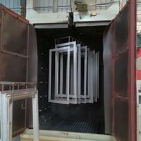 货架油漆氧化皮处理双吊钩式抛丸机南海打沙机广东自动喷砂机厂家