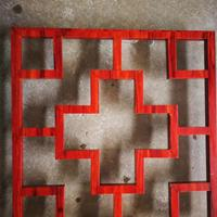 接待室型材焊接铝屏风 橡木纹色铝窗花格合作厂家