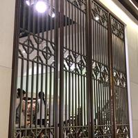 浙江杭州-休闲会所背景墙铝花格 -仿古木纹铝花格 【德普龙厂家】