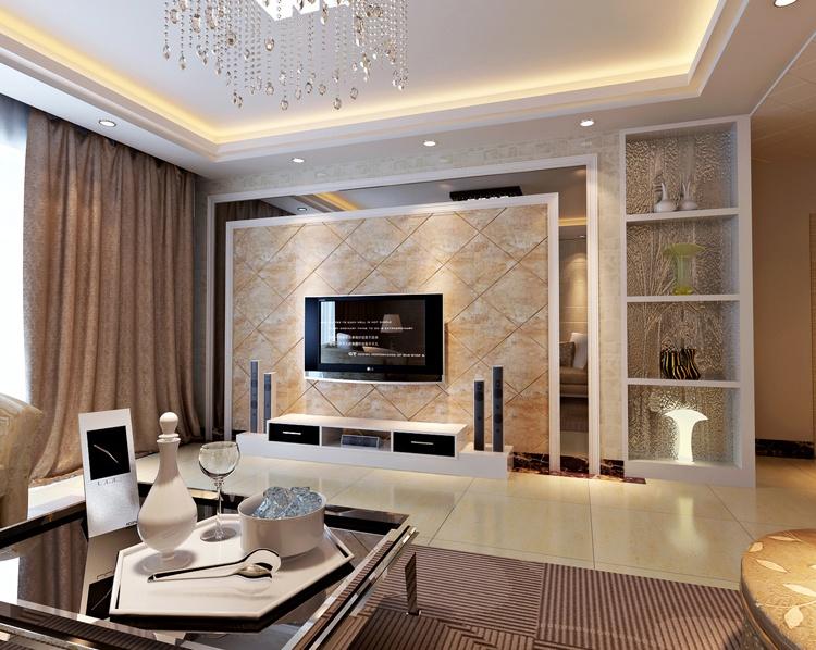 电视石材背景墙效果图 电视背景墙用大理石如何固定到墙面