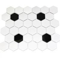浴室卫生间六角砖装修群舜瓷砖黑白地砖