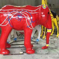 玻璃钢红色大象吉祥如意广场摆件