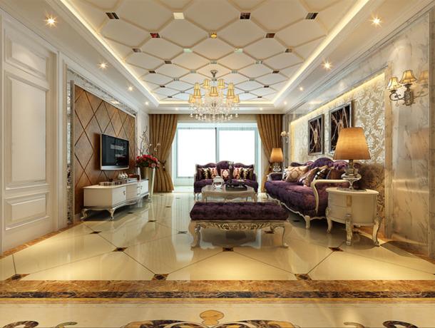 簡歐客廳高低柜 電視背景墻和沙發背景墻怎么協調