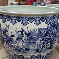 景德镇温泉洗浴大缸 青花陶瓷大缸 定做陶瓷泡澡大缸厂家