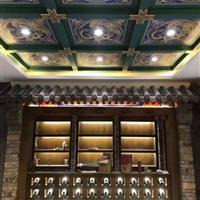 中式禅堂装修寺庙彩绘吊顶天花板造型设计