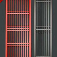 红色木纹铝花格窗 铝合金防盗花格窗性能