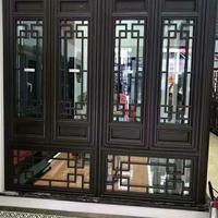 鸿森莱卡铝合金复古门窗价格 70系列中式金属门窗全国批发