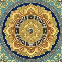 寺庙禅堂彩绘天花板古建雕花藻井平雕贴金彩绘蓝莲花