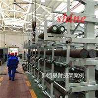 成都钢材货架案例 伸缩悬臂式货架结构 管材存放架图片