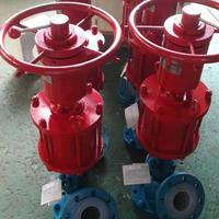 气动衬氟上展式放料阀 带手轮 双作用气缸