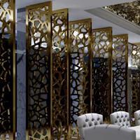 餐厅中式仿古隔断 铝窗花 屏风装饰