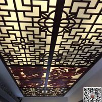 室内吊灯展示区域铝花格吊顶格栅