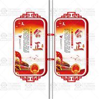 定制中国风仿古形上下花格路灯杆装饰灯箱