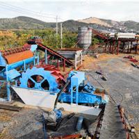 砂石洗沙機脫水處理 水輪洗砂設備生產現場-隆中洗沙機廠家