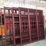 餐厅门头红木纹铝格栅-仿古铝格栅防格子定制