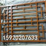 定做铝格栅窗厂家-棕色铝窗花