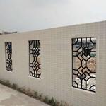 四合院铝合金花格吊顶-仿古木纹色铝窗格