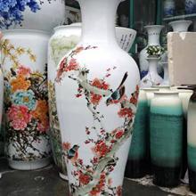 景德镇陶瓷器青花瓷山水画落地大花瓶酒店客厅装饰品摆件大号特大