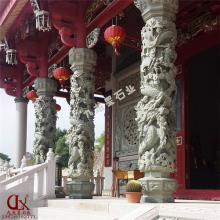 寺院龙柱石雕图片 雕刻石雕龙柱厂家