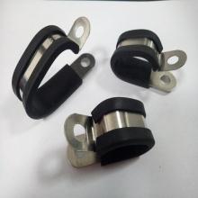 厂家直销半包胶金属管夹R型不锈钢管夹U型包胶骑马卡