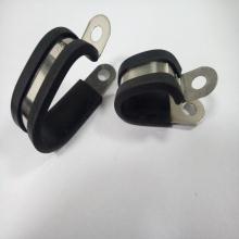 新能源线束线缆用双管管夹 R型U型多管不锈钢包塑线卡2*19