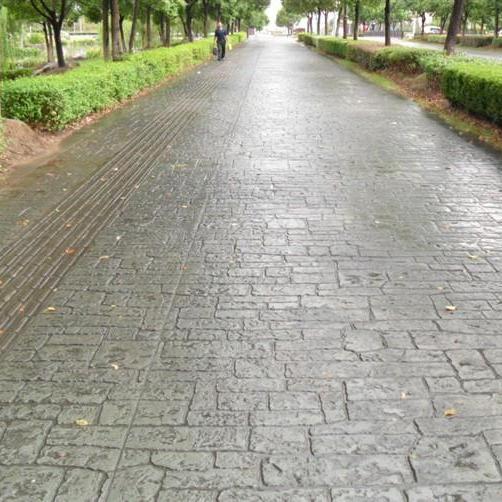 上海休闲广场仿石路面  彩色艺术压模地坪施工 模具及材料供应