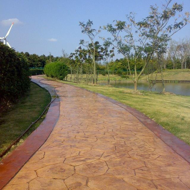 浙江市政彩色生态透水混凝土车行道 彩色艺术压花人行步道