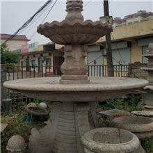 石雕喷泉水钵,石雕九鱼喷泉,景观用石材喷泉