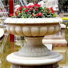 广州黄锈石花钵黄金麻花盆石雕成批出售市场