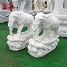石雕大象摆件-浪花底座石雕小象-汉白玉石雕大象批发厂家