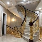 台北别墅铜楼梯护栏家里阳台也装它