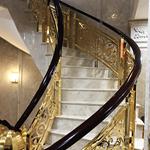 工厂实物拍奢 超亮室内楼梯金色铝艺护栏 别墅艺术轻奢