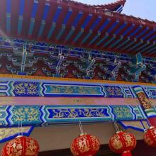 复古屋檐门头角铝合金斗拱-中国古建建筑印花铝合金斗拱