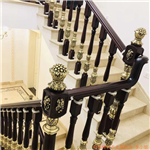 虎门简约铝艺楼梯扶手酒店会所镀金栏杆效果图