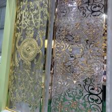 厂家供应艺术雕花铝屏风-香槟金雕刻铝合金隔断铝单板