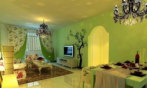 客厅乳胶漆颜色效果图     蓝色沉静内敛,配合现代家装风格更显其独特